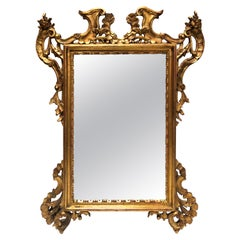 French Antique Rococo Style Giltwood Carved Mirror