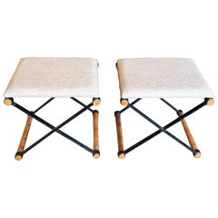 x Base Iron and Faux Bamboo Stools