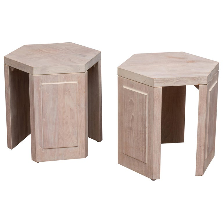 Pair of Hexagonal Side Tables by McGuire For Sale