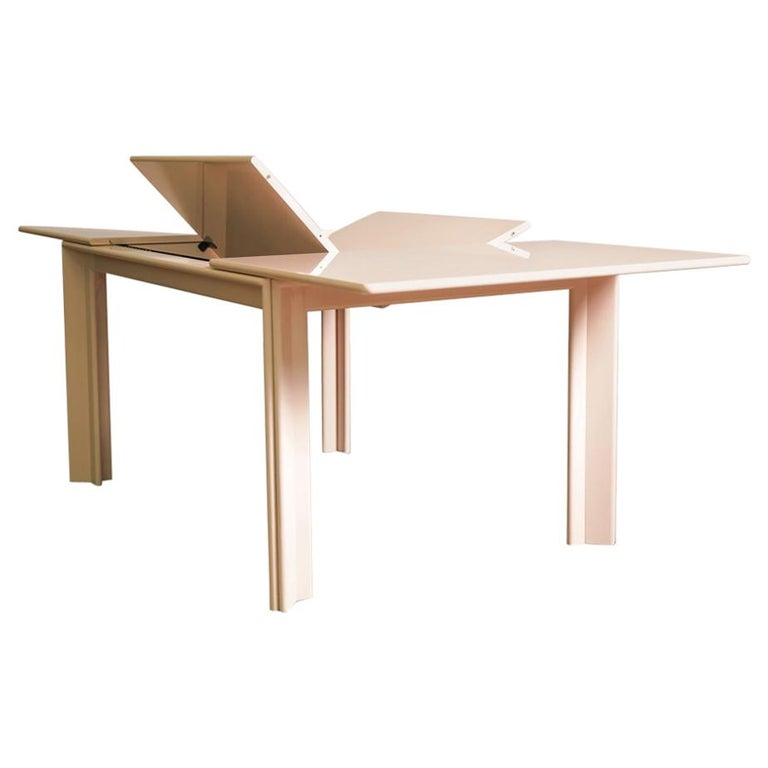 Pale Pink Lacquered Extension Dining Table by Afra & Tobia Scarpa, Italy, 1974