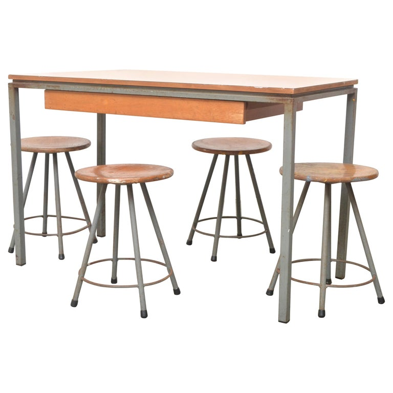 Early Edition Marko Industrial Metal Table and Stool Set For Sale