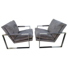 Handsome Pair Signed Milo Baughman Thick Chrome Cube Lounge Chairs Midcentury