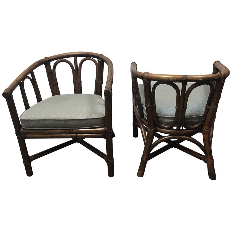 Pair of McGuire Bamboo Barrel Chairs