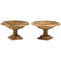 Pair of 18th Century Roman Italian Oriental Alabaster Fruit Bowls