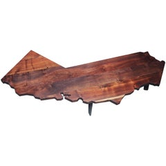 Medium-size California Shaped Coffee Table Crafted From Salvaged CA Hardwoods