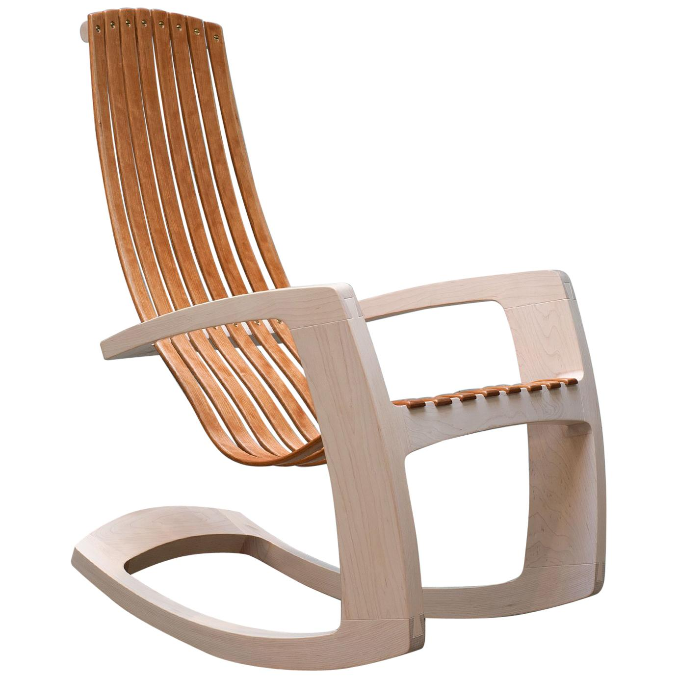 J. Rusten Studio Crafted Sculptural Modern Rocking Chair In Maple And Cherry  For Sale