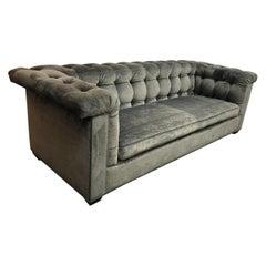 Rene Cazares Margo Pewter Velvet Sofa
