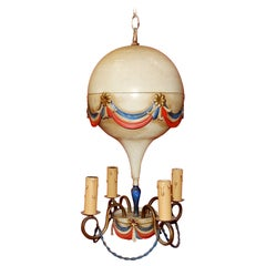 1970 Chandelier Airship Mongolfiére Paint Métal, Memory of French Révolution