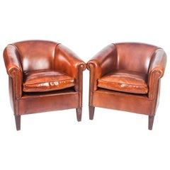 Pair of English Handmade Amsterdam Leather Armchairs BBA