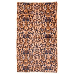 Midcentury Turkish Deco Rug, Wool on Cotton 1960s