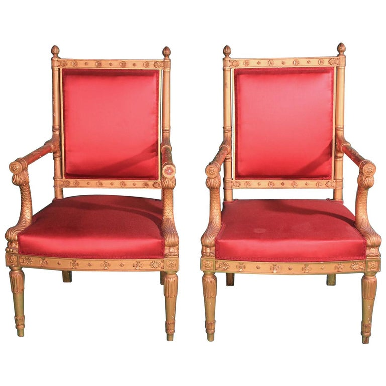Pair of Frederic Quignon 19th Century Napoleon III Giltwood French Armchairs For Sale