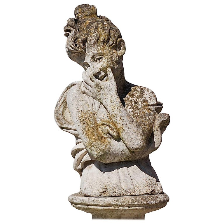 Weathered Garden Statue of Smiling Girl, Late 20th Century
