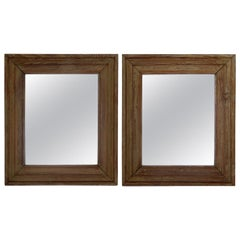 Pair of Pine Wood Mirrors, France, circa 1920s