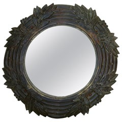 Bronze Laurel-Leaf Motif Mirror, France, circa 1880s