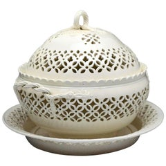 Antique Leeds Pottery Creamware Basket with Cover and Stand