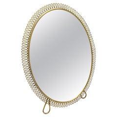 Italian 1950s Brass Framed Dressing Table Mirror