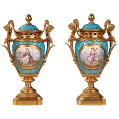 "Fine Pair of Porcelain, Gilded Bronze and Enamelled Pearls ""Sèvres"" Vases"