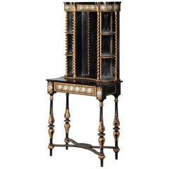 Small 19th Century French Cabinet with Elaborately Carved and Gilded Decoration