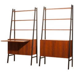 1950s, Set of Two Teak Bookcases Room Dividers Cabinets