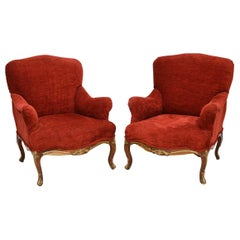 Pair of Antique Rosewood Upholstered Armchairs