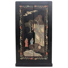 Decorative Black Lacquered Antique Coromandel and Chinoiserie Cupboard