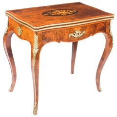 Antique French Burr Walnut Marquetry Card and Chess Table, 19th Century