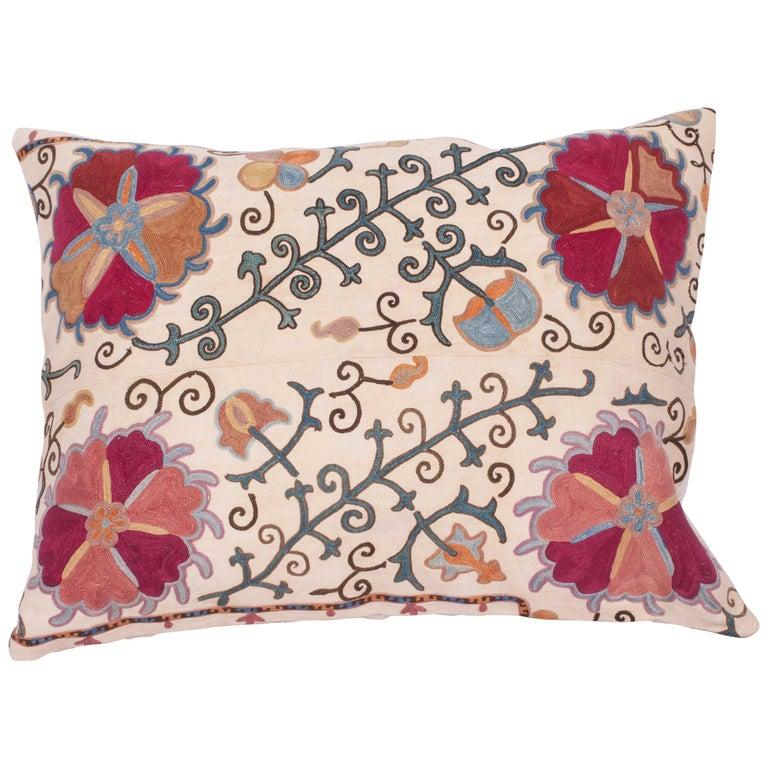 Antique Suzani Pillow Fashioned from a 19th Century Uzbek Bukhara Suzani For Sale