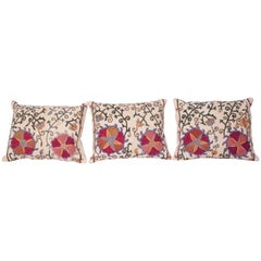 Antique Suzani Pillow Cases Fashioned from a 19th Century Uzbek Bukhara Suzani