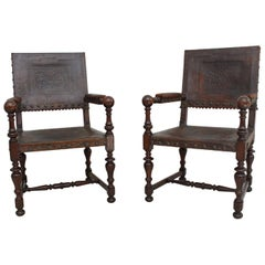 Pair of Early 19th Century Spanish Embossed Leather Armchairs