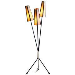1950s, Metal and Brass Three-Light Floor Lamp, Sweden