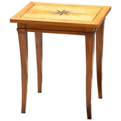 Biedermeier Side Table with North Star Inlay