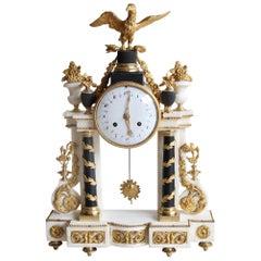 Louis XVI Marble Clock, Early 19th Century