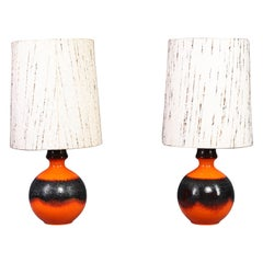 German Floor Lamps with Fat Lava Base, 1960s, Set of Two