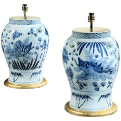 Pair of Blue and White Chinese Vases Now Mounted as Lamps