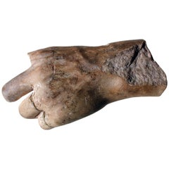 Roman Period Carved Marble Fragment of a Left Hand; circa 150-200 AD