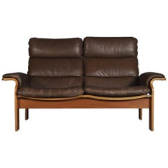 Norwegian Bentwood and Leather Loveseat, 1960s