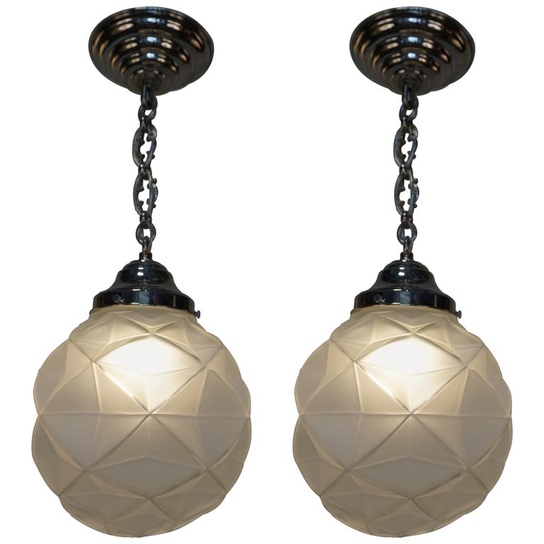 Pair of French Art Deco Pendant Chandeliers