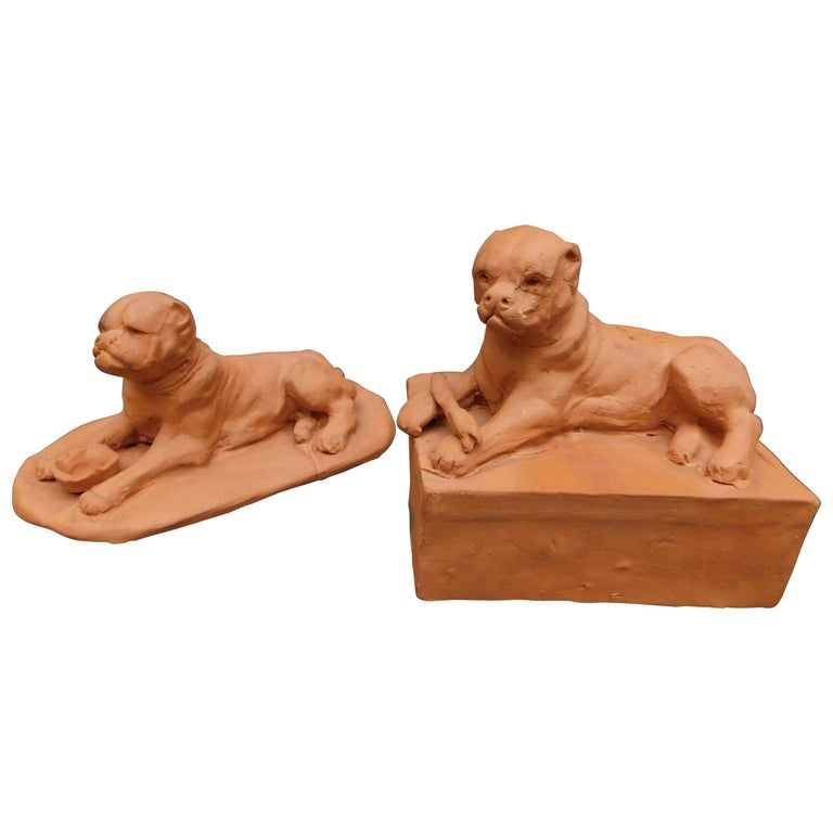 French Terracotta Sculptures of Mastiff Dogs