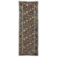 Antique Hand-Knotted wool Caucasian Shirvan Runner Rug