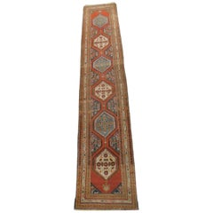 Long Vintage Persian Runner Carpet with Open Field in Deep Orange and Blue