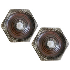Pair of German Geometric Ceramic Wall Ceiling Lights Flush Mounts Sconces, 1960s