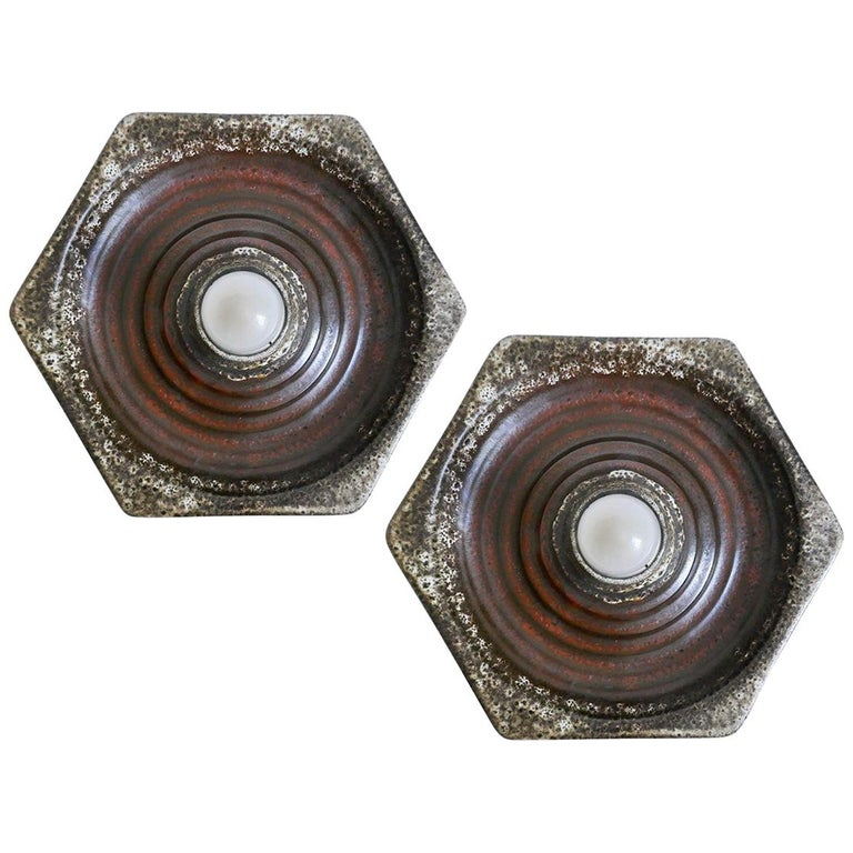 Pair of German Geometric Ceramic Wall Ceiling Lights Flush Mounts Sconces, 1960s