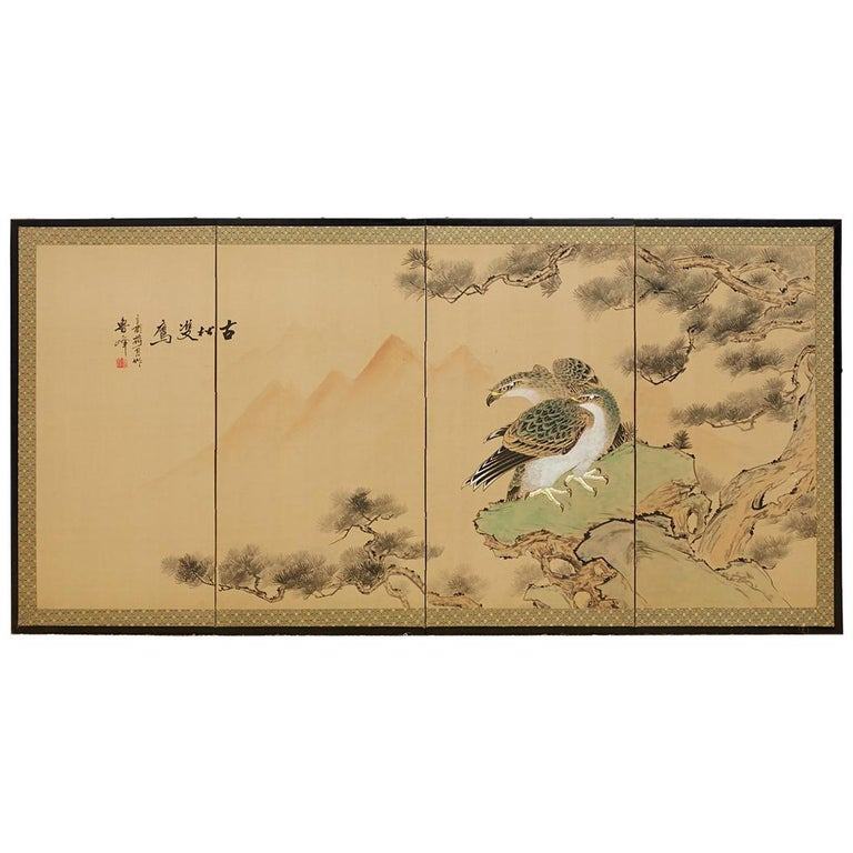Japanese Four Panel Screen of Hawks in Pine Tree