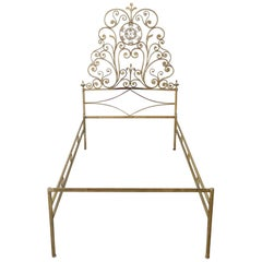 20th Century Italian Baroque Style Golden Iron Single Bed