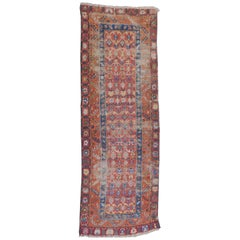 Caucasian Runner Carpet in Terracotta, Blue and Ruby