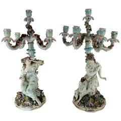 Pair of Possibly Meissen Female Figural Candelabra