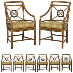 Set of Eight Bound Rattan Dining Armchairs by McGuire