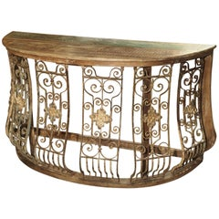 Wood and Iron Grille Demilune Console Table from India