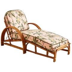 Paul Frankl Style Three Strand Rattan Chaise Lounge