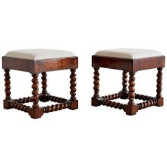 Pair of English Style Oak Barley Twist Footstools